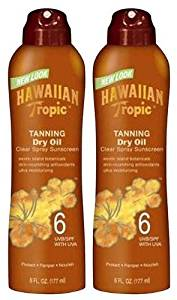 Hawaiian Tropic Tanning Dry Oil Clear Spray SPF 6 Sunscreen-6 oz, 2 pack