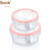 BPA Free Clear Glass Bowl Compartment Bin With Plastic Lid Food Container Set