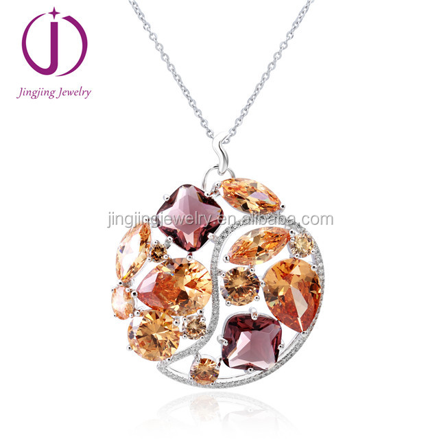Wholesale 925 sterling silver bigger round multi color crystal jewelry pendant