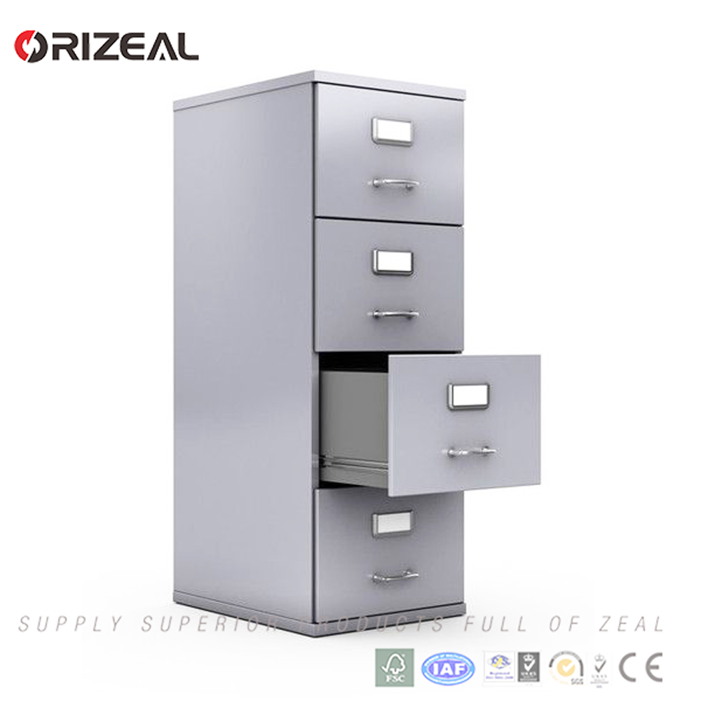 4 Drawers 4 Tiers Filing Cabinet Metal Steel Chest Office Storage