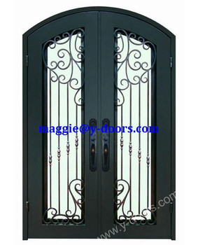 Front Wrought Iron Double Door Design Steel Main Entry Safety
