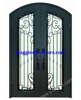 Front Wrought Iron Double Door Design Steel Front Main Entry Door