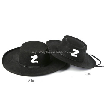 ADULT BLACK ZORRO HAT SPANISH BANDIT COWBOY HERO MUSKETEER FANCY DRESS  ACCESSORY 1dc718e47db2