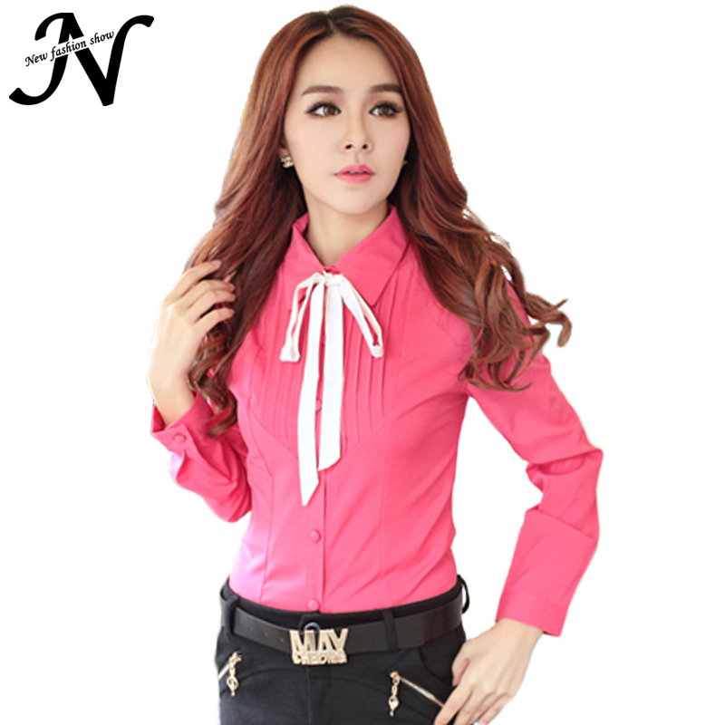 Ladies Office Shirts New 2015 Korean Style Autumn Fashion Long Sleeve Shirt Elegant Women Tops Sheer Rose Red White Blouse 6364