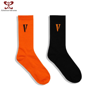 A Forever Fairness V Orange Socks Cotton Sports Socks Men