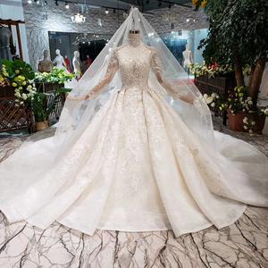2f68b6b5d1 HTL187 Luxury wedding dresses long sleeve handmade flowers appliques high  neck wedding gown 2019 new fashion