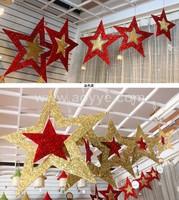 Wholesale christmas star decorative wall metal pendant golden red pentagram turn drop ornament