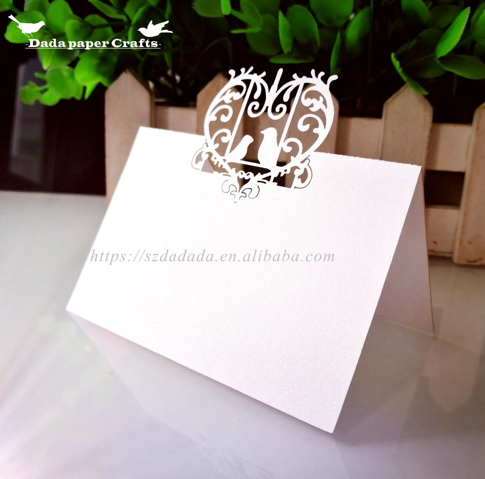 Xwk8 Laser Cut Love Birds Heart Wedding Table Name Card Table Number ...