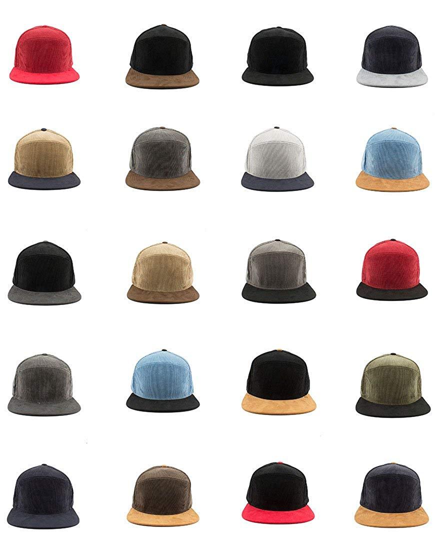 d8f5f073ddd Get Quotations · Vintage Corduroy Suede Flat Bill Brim Snapback Baseball Cap  Blank Plain Hat