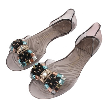 Mini HeLiSha women shoes 2019 flat jelly sandals with colorful diamonds for ladies