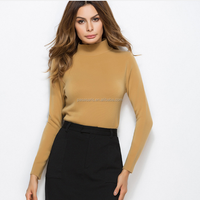 AL5010W New solid color winter knitted lady clothing pullover tops cashmere sweater slim turtleneck sweater women