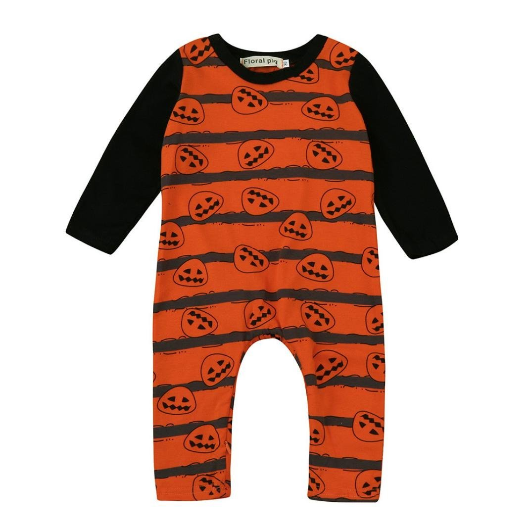 Halloween Baby Girls/Boys Clothes, Leewa@ Long Sleeve Pumpkin Romper Jumpsuit Outfit Clothes Set