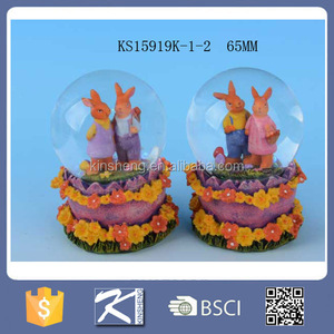 custom promotion holiday decoration resin easter rabbit animal snow water globe wholesale