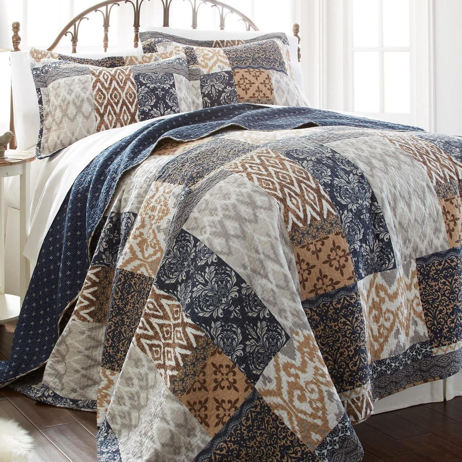 MISC 3pc Brown Blue Tan White King Quilt Set, Cotton, Geometric Damask Patchwork Themed Bedding Navy Grey Diamond Bohemian BohoTrendy Cottage Navy Rustic Pretty Vintage Stylish