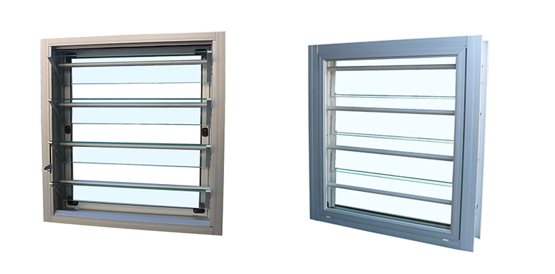 Aluminum glass louver with security protection