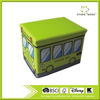 [School Bus - Green] Rectangle Foldable Faux Leather Storage Ottoman / Storage Boxes / Storage Seat