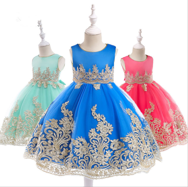 Wholesale Baby Frock Latest Kids Clothing Lace Frock Designs Wedding Party Bridesmaid Dresses L9029 фото