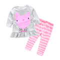 2016 New autumn sets baby cartoon cats set twinset Long sleeve shirt pants children clothing set