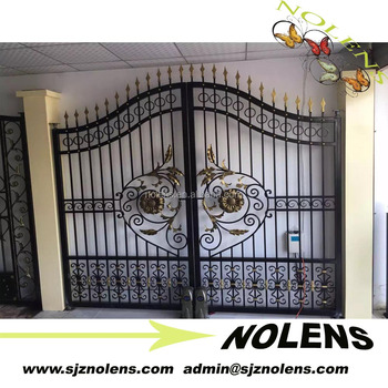 Elegant wrought iron driveway gate design decorative house for Single gate designs for homes