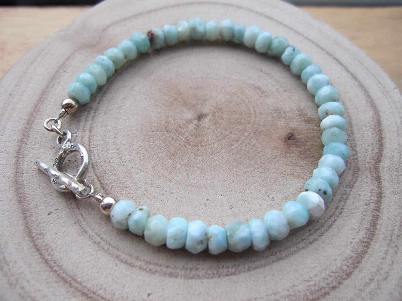 Size 8,Genuine Rough Larimar,Rough larimar bracelet,Larimar jewelry,Karen hill tribe silver clasp,raw Larimar bracelet,larimar bracelet - Custom size 6.5,7.0,7.5 ,8.0,8.5