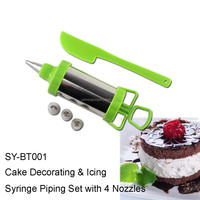 SY-BT001 Cake Decorating & Icing Syringe Piping Set with 4 Nozzles