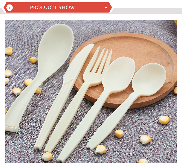 biodegradable EU style corn starch disposable plastic spoon for sale