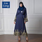 High Quality kimono blue embroidery silk playa abaya in Dubai