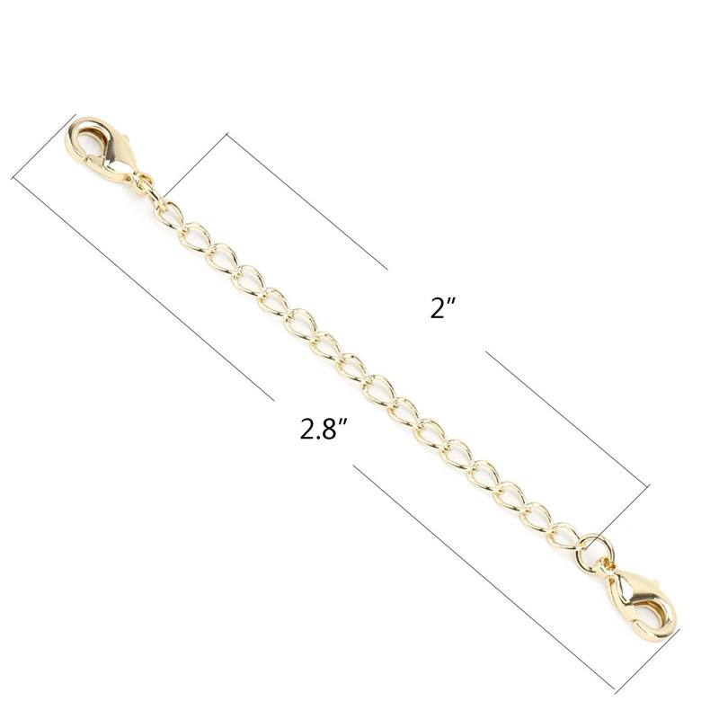 Wholesale Gold Plated Brass Chain Extender with 2 Lobster Claw Clasps for Jewelry findings