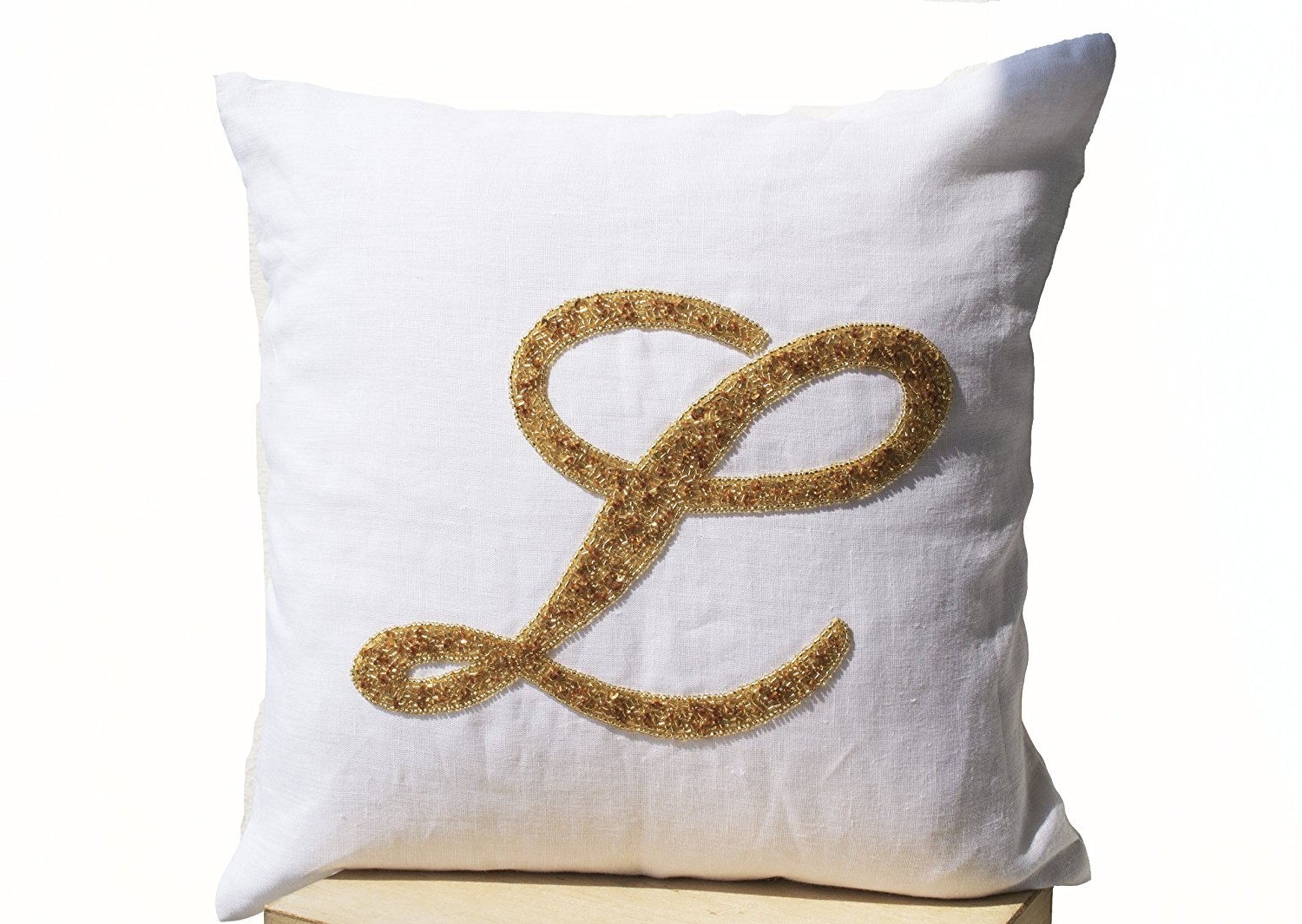 Amore Beaute Handcrafted Decorative Throw Pillow Covers with Customized  Monogram Letter in Gold Sequin Detail - 2b243d22e