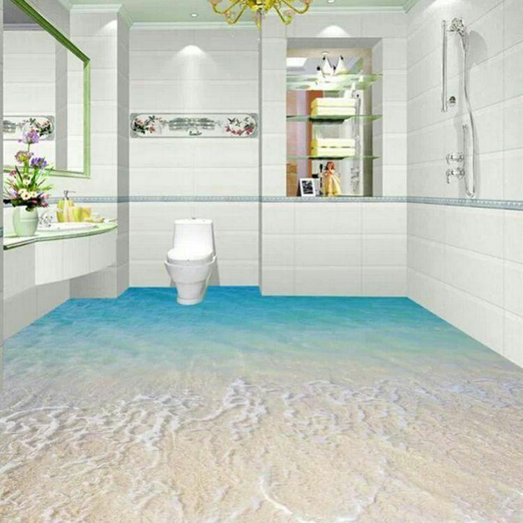 3d ba o azulejo de piso de cer mica moderna decorativo 3d for Pisos decorativos 3d