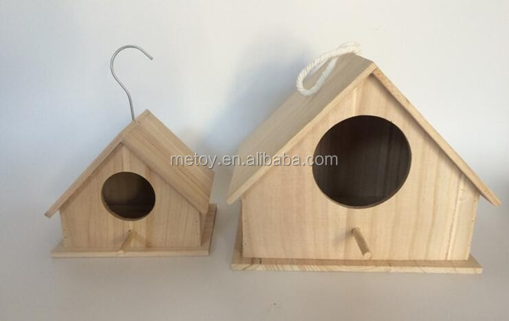 Factory unfinished wooden wall mounted bird house