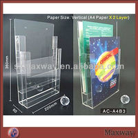 Clear A5 Wall Mounted PMMA Plastic Brochure Display Newspaper Holder