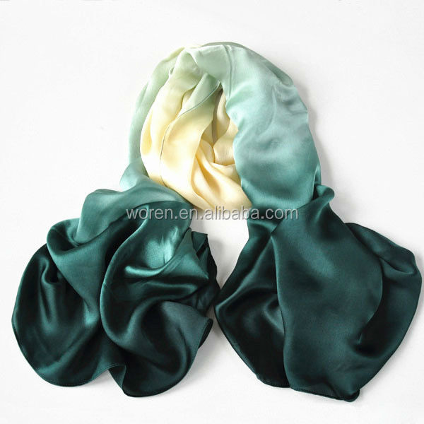 Hand Dye Green Ombre Silk Satin Stole Scarf