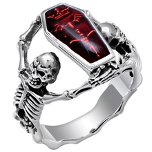 Mode <span class=keywords><strong>Schmuck</strong></span> 2019 Steampunk Stil Antike Silber Rot Emaille Sarg Silber <span class=keywords><strong>Schädel</strong></span> Ring Für Männer