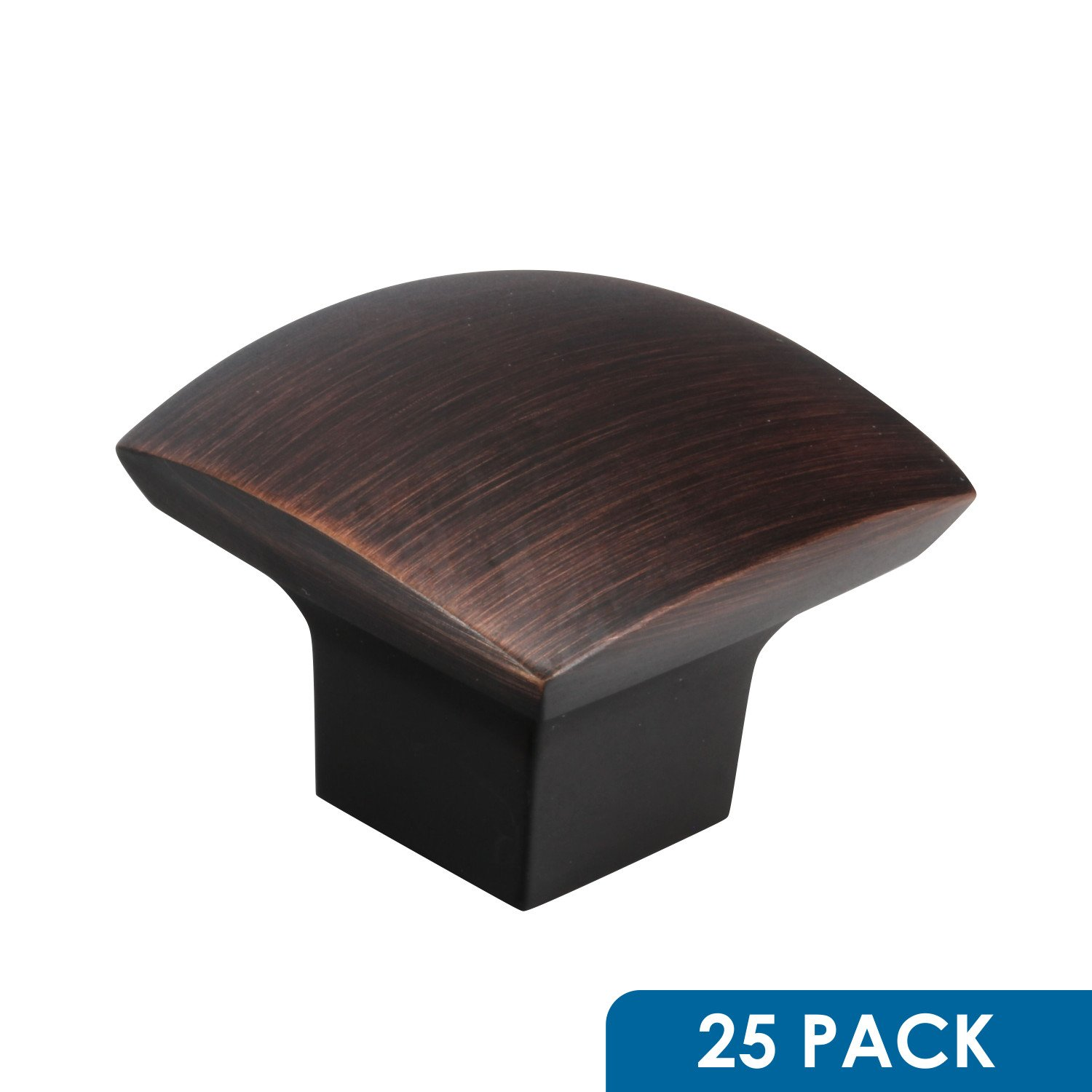 """25 Pack Rok Hardware Zen Dynasty Square Style Brushed Oil-Rubbed Bronze Cabinet Drawer Knob, 1-7/32"""" (31mm)"""