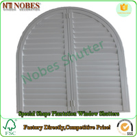 Arch Shape Timber Wooden Plantation Louver Shutter Factory Directly