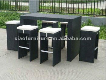 Outdoor rattan di vimini 7 pz sgabelli da bar bar set buy vimini