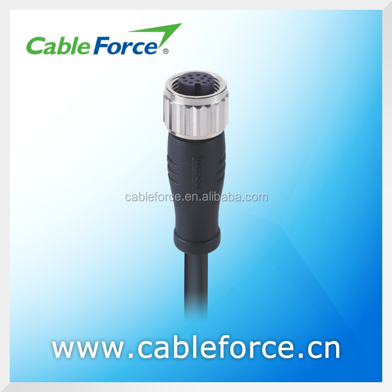 Industrial circular waterproof connector M12 12 pin female A Coding connector Straight Molded with PVC / PUR Cable connector