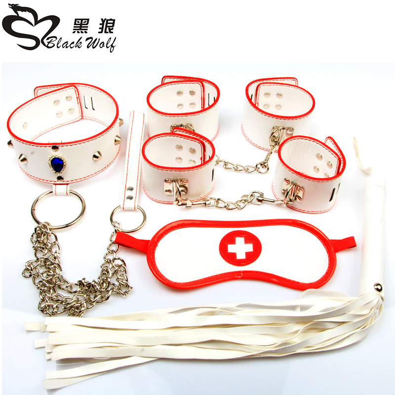 5PCS SM bondage kit sex product sexy toy whip mouth gag and vibrator nurse  Cosplay handcuffs