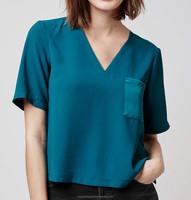 2016 new designs v neck silk blouse blue color women silk blouse short sleeves cheap price color block silk blouse