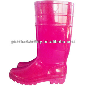 Women PVC Plastic Rose Red Color Rain Boots