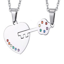 2pcs Mens & Womens Fashion Rainbow Bead Pave Love Heart and Key Shape Stainless Steel Pendant Couples Lesbian Gay Pride Necklace