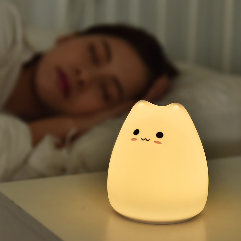 Soft Cat Silicone Baby Nursery Lamp Sensitive Tap Control 7 Single Colors Night Light for Kids