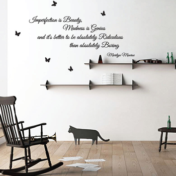ALY QWS018 Fashion Popular High Quality Quotes Room Decor 3D Wall Stickers