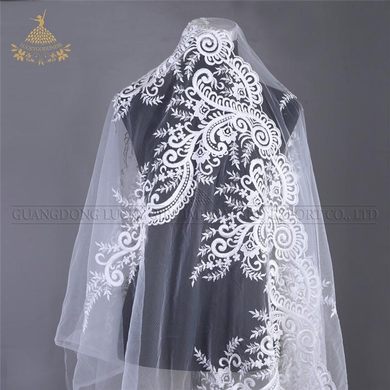 FL-04 Bridal trouwjurk witte pailletten cording borduurwerk kant stof