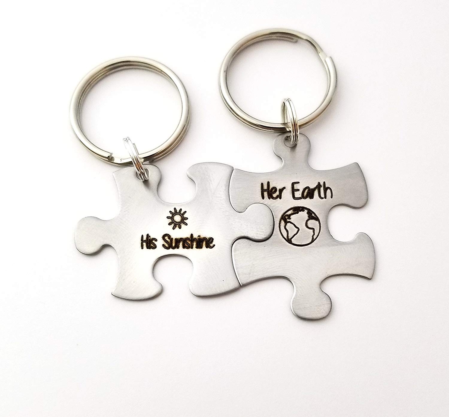 4201597823 Get Quotations · Puzzle Piece Keychain Set, Gift for Boyfriend, His Sunshine  Her Earth Set, Anniversary