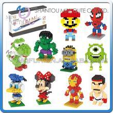 Mini Qute WTOYW LNO kawaii despicable me Minion Super marvel avenger mario plastic building blocks cartoon