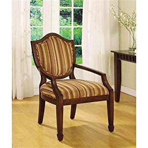 Get Quotations · Mwave IDF AC6026 Bernetta Cotton Arm Chair, Dark Walnut,  Material: Wood,