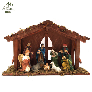Custom made handmade carved outdoor religious scene polyresin nativity sets