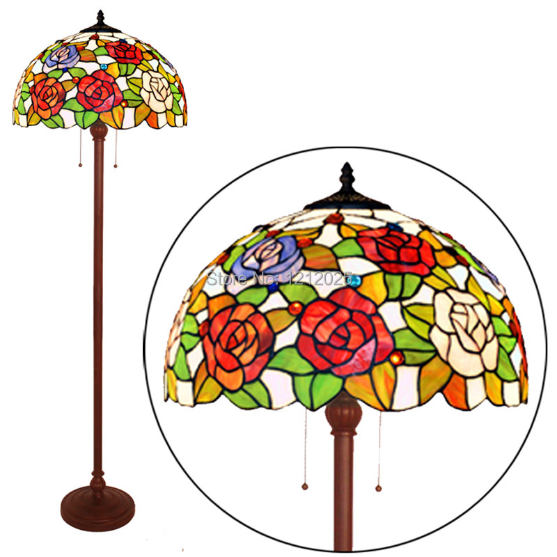 Pastoral Tiffany Style Rose Floor Lamp For Living Room